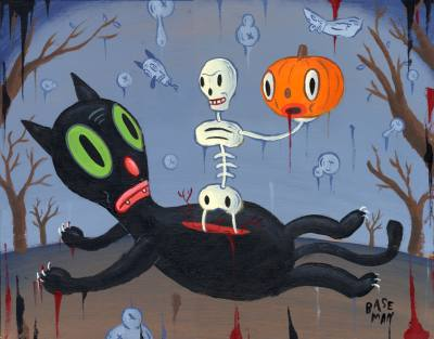 Gary  Baseman -  <strong>Bump in the Night</strong> (<strong style = 'color:#635a27'></strong>)<bR /> Acrylic on Wood Panel ,   11 x 14 inches