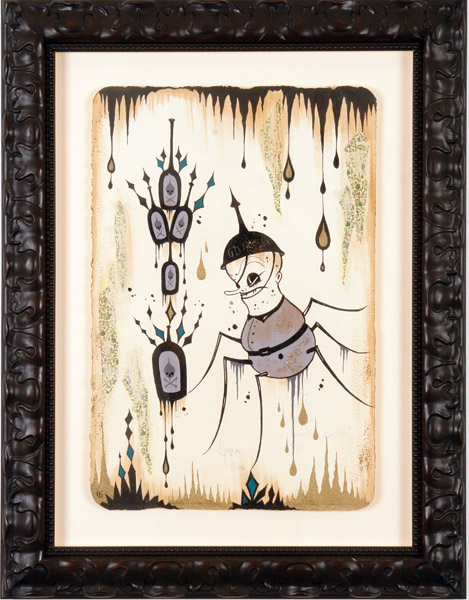 Camille Rose  Garcia -  <strong>Disorder Poison</strong> (2006<strong style = 'color:#635a27'></strong>)<bR /> Acrylic and gold mica on paper,   Image size: 23 x 15 inches,   Framed size: 32 x 25 inches
