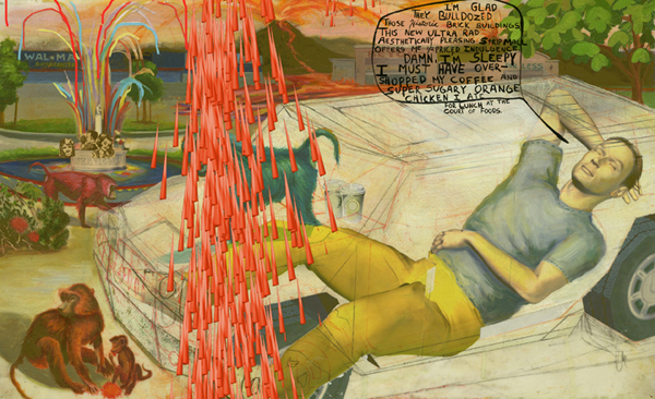 Erik Mark  Sandberg -  <strong>Glamour Panel 5</strong> (2007<strong style = 'color:#635a27'></strong>)<bR /> Mixed Media and Silk-Screen on Synskin mounted on Panel,   15 1/2 x 25 inches