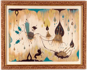 Camille Rose  Garcia -  <strong>General Disorder's Deep Deep Hole</strong> (2006<strong style = 'color:#635a27'></strong>)<bR /> Acrylic and gold mica on paper,   Image size: 46 x 60 inches,   Framed size: 56 x 73 inches