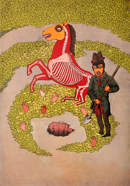 AJ  Fosik -  <strong>Goodbye Horses</strong> (2007<strong style = 'color:#635a27'></strong>)<bR /> Enamel on Wood,   30 x 21 inches