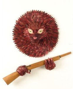 AJ  Fosik -  <strong>Goon Eater Ghost</strong> (2005<strong style = 'color:#635a27'></strong>)<bR /> Wood and Found Object,   40 x 25 x 10 inches (dimensions variable)