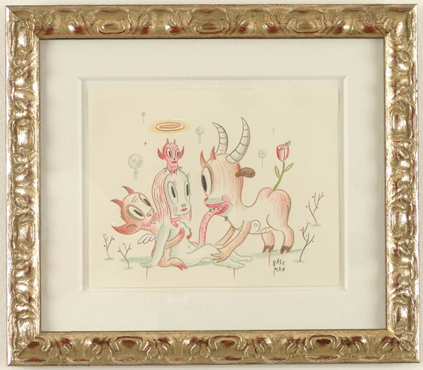 Gary  Baseman -  <strong>Grazing</strong> (2005<strong style = 'color:#635a27'></strong>)<bR /> Mixed media on paper,   9 x 11 inches