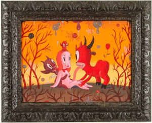 Gary  Baseman -  <strong>Grazing</strong> (2005<strong style = 'color:#635a27'></strong>)<bR /> Acrylic on Wood Panel,   18 x 24 inches