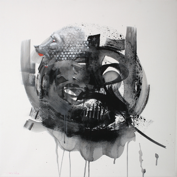Doze  Green -  <strong>Darth Vader</strong> (2008<strong style = 'color:#635a27'></strong>)<bR /> Mixed media on canvas,   24 x 24 inches