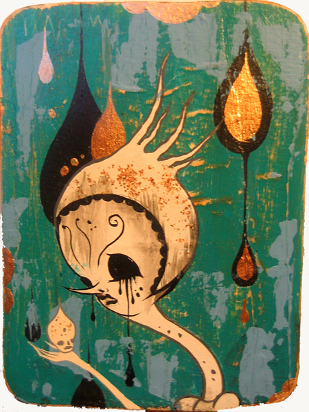 Camille Rose  Garcia -  <strong>Green Death Boy</strong> (2006<strong style = 'color:#635a27'></strong>)<bR /> Acrylic and gold mica on paper,   7 x 5 1/2 inches