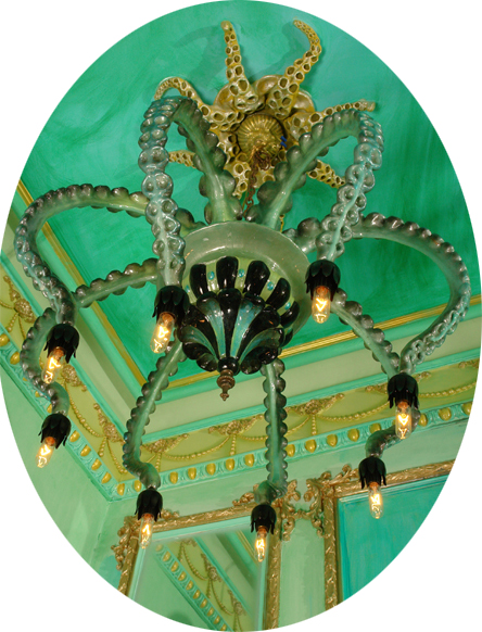 Adam  Wallacavage -  <strong>Centocchi di Galena</strong> (2006<strong style = 'color:#635a27'></strong>)<bR /> Mixed media, epoxy resin-coated plaster and lamp parts,   (Octopus ceiling fixture not included),   20 x 26 x 26 inches
