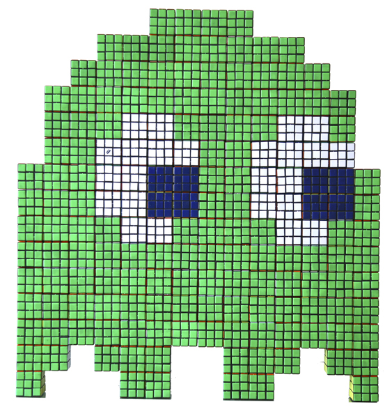 Invader  &nbsp -  <strong>Green Rubik Phantom</strong> (2007<strong style = 'color:#635a27'></strong>)<bR /> Rubik Cubes on Plexiglass Panel,   31 x 33 inches