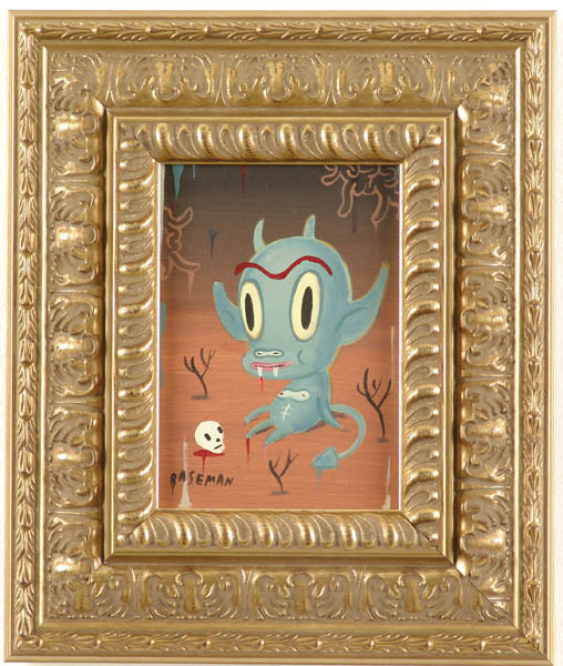 Gary  Baseman -  <strong>Green Hotchachacha</strong> (2005<strong style = 'color:#635a27'></strong>)<bR /> Acrylic on Wood Panel,   7 x 5 inches