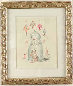 Gary  Baseman -  <strong>YawnYawn Hotchachacha</strong> (2005<strong style = 'color:#635a27'></strong>)<bR /> Mixed media on paper,   11 x 9 inches