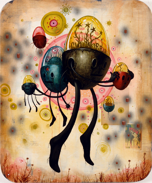 Jeff  Soto -  <strong>Growers</strong> (2005<strong style = 'color:#635a27'></strong>)<bR /> Acrylic and mixed media on wood  36 x 30 inches