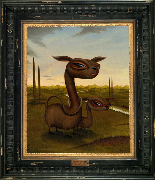 Scott  Musgrove -  <strong>Guanicus Mater Matris</strong> (2005<strong style = 'color:#635a27'></strong>)<bR /> Oil on Canvas <Br/>Image size: 19 x 15 inches,   Framed size: 28 x 24 inches