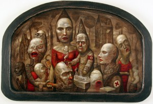 Chris  Mars -  <strong>The Curse of Head Medicine</strong> (2005<strong style = 'color:#635a27'></strong>)<bR /> Oil on Panel,   23 x 36 inches