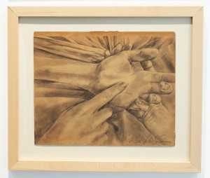 """Faith47   -  <strong>Heart and Hand IV</strong> (2015<strong style = 'color:#635a27'></strong>)<bR /> graphite on found object,   9.5 x 11.75 inches  (24.13 x 29.84 cm),   <span style=""""font-size: 9pt; font-family: Arial, sans-serif;"""">"""