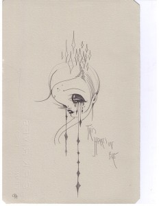 Camille Rose  Garcia -  <strong>Hearts on Fire</strong> (2006<strong style = 'color:#635a27'></strong>)<bR /> Pencil on paper,   11 x 7 1/2 inches