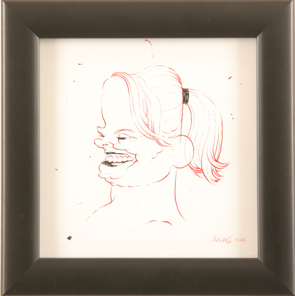 Dave  Cooper -  <strong>Study for Helga</strong> (2005<strong style = 'color:#635a27'></strong>)<bR /> Pen and Ink on Paper ,   5 x 5 inches
