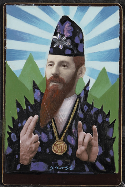 Alex  Gross -  <strong>High Priest</strong> (<strong style = 'color:#635a27'></strong>)<bR /> Collage, Acrylic and Oil on Antique Cabinet Cards,   Image Size: 6 x 4 inches,   Framed Size: 10 x 8 inches
