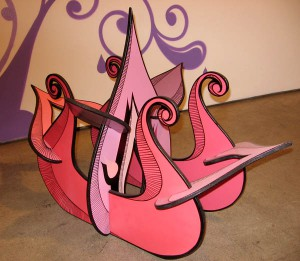 Highraff    -  <strong>Pink Flower Sculpture</strong> (<strong style = 'color:#635a27'></strong>)<bR /> Mixed Media Sculpture,   34 x 14 x 23 inches