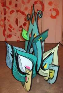 Highraff   -  <strong>Green Flower Sculpture (side view)</strong> (<strong style = 'color:#635a27'></strong>)<bR /> Mixed Media Sculpture,   26 x 42 x 26 inches