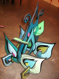 Highraff   -  <strong>Green Flower Sculpture (from above)</strong> (<strong style = 'color:#635a27'></strong>)<bR /> Mixed Media Sculpture,   26 x 42 x 26 inches
