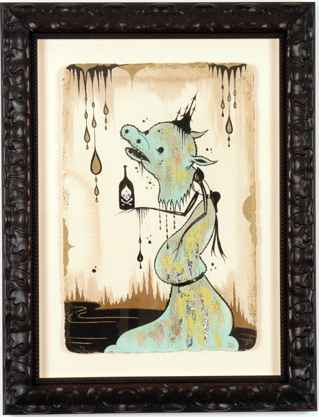 Camille Rose  Garcia -  <strong>Hippo Head Poison Bottle</strong> (2006<strong style = 'color:#635a27'></strong>)<bR /> Acrylic and gold mica on paper,   Image size: 23 x 15 inches,   Framed size: 32 x 25 inches