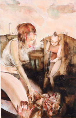 David  Choe -  <strong>Hold Him Still I Can't Get a Shot</strong> (<strong style = 'color:#635a27'></strong>)<bR /> Mixed media on paper,   Image size: 15 x 10 3/4 inches,   Framed size: 25 x 20 inches