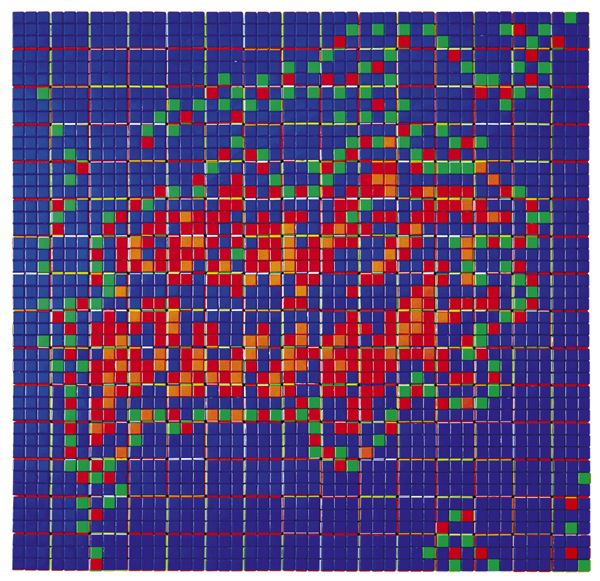 Invader  &nbsp -  <strong>Rubik Homework</strong> (2009<strong style = 'color:#635a27'></strong>)<bR /> 225 Rubik's cubes on Perspex panel,   33 x 33 x 2 3/8 inches [83.8 x 83.8 x 6 cm]