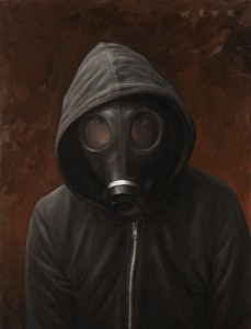 Dan  Witz -  <strong>Hoodie Gas Mask</strong> (2011<strong style = 'color:#635a27'></strong>)<bR /> oil and digital media on canvas,   24 x 19.25 inches  (61 x 49 cm)