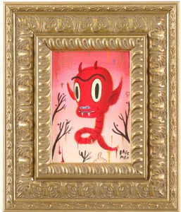 Gary  Baseman -  <strong>Hotchachacha Worm</strong> (2005<strong style = 'color:#635a27'></strong>)<bR /> Acrylic on Wood Panel,   7 x 5 inches