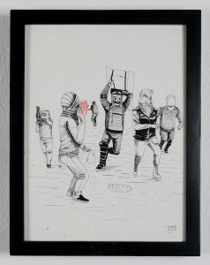 Saner     -  <strong>Hunters in Action</strong> (2014<strong style = 'color:#635a27'></strong>)<bR /> ink on paper,   12 x 9 inches  (30.48 x 22.86 cm)