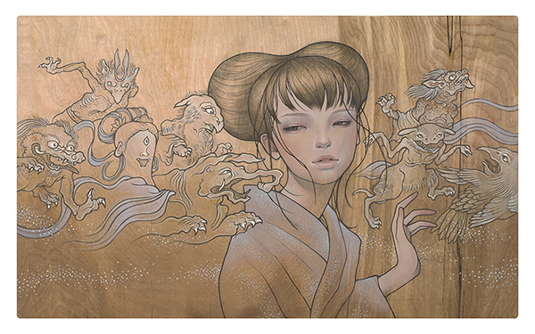 Audrey  Kawasaki -  <strong>Hyakki Yakou (Night Parade)</strong> (2009<strong style = 'color:#635a27'></strong>)<bR /> oil and graphite on wood,   15.5 x 25.5 inches  (39.37 x 64.77 cm)
