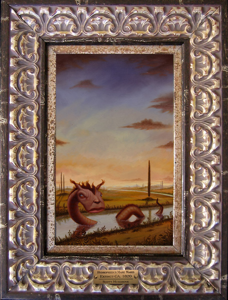 Scott  Musgrove -  <strong>Hydrophiidus Mare Maris</strong> (2005<strong style = 'color:#635a27'></strong>)<bR /> Oil on Board,   Image size: 11 x 7 inches,   Framed size: 18 x 13 1/2 inches