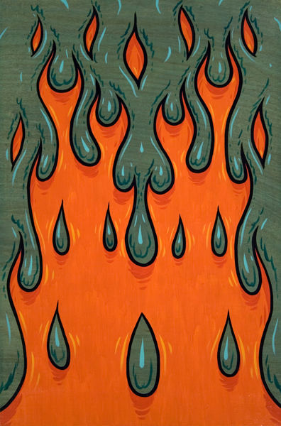 Mark Dean  Veca -  <strong>Hydropyro 4</strong> (1998<strong style = 'color:#635a27'></strong>)<bR /> Acrylic on Panel,   48 x 32 inches
