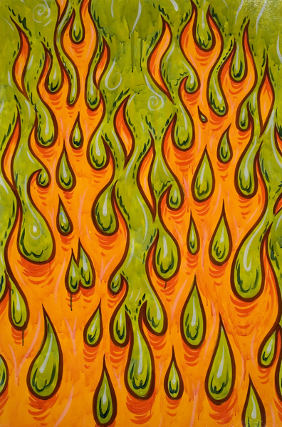 Mark Dean  Veca -  <strong>Hydropyro</strong> (1998<strong style = 'color:#635a27'></strong>)<bR /> Acrylic on Panel,   24 x 36 inches