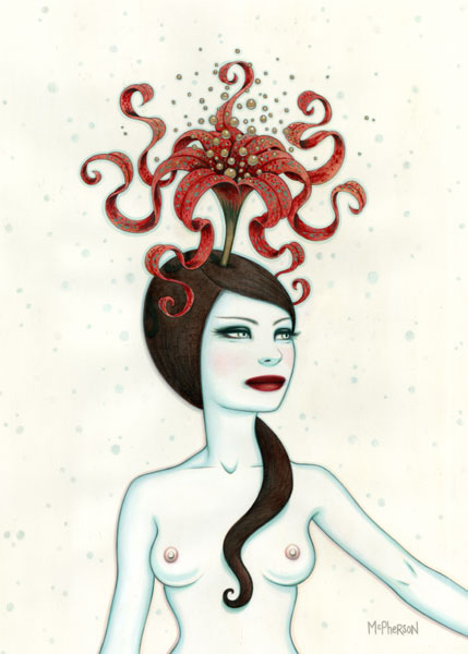 Tara  McPherson -  <strong>The Idealization of Asymmetrical Thought</strong> (<strong style = 'color:#635a27'></strong>)<bR /> Graphite and Acrylic on Arches Watercolor Paper,   Image size: 17 x 23 inches