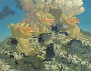 Dave  Cooper -  <strong>Immunity</strong> (2005<strong style = 'color:#635a27'></strong>)<bR /> Oil on Canvas,   48 1/4 x 38 1/4 inches