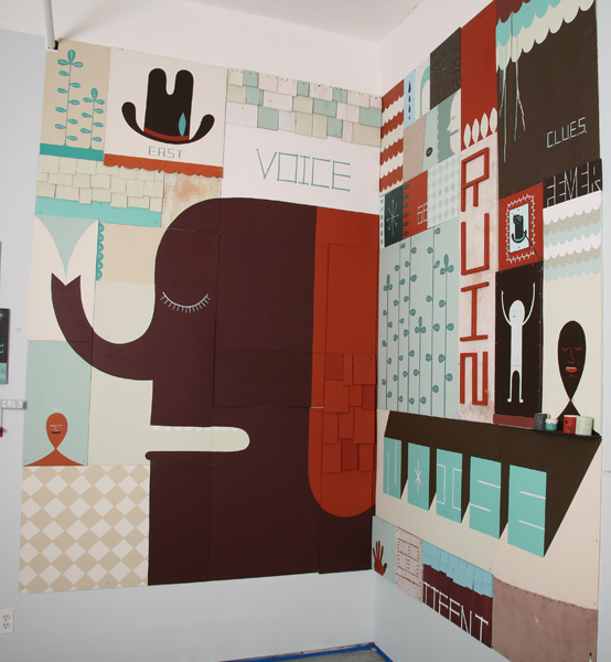 Jim  Houser -  <strong>Noises</strong> (2007<strong style = 'color:#635a27'></strong>)<bR /> Mixed media mural,   9 x 12 feet