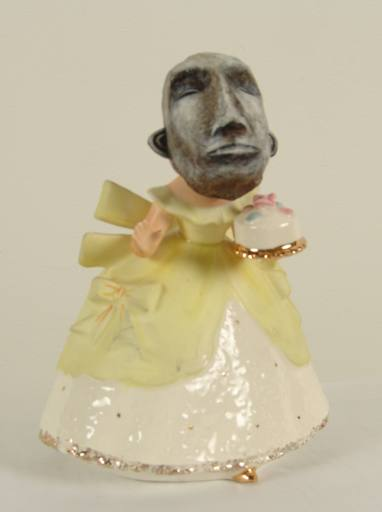 Jordin  Isip -  <strong>Yellow Dress</strong> (<strong style = 'color:#635a27'></strong>)<bR /> Papier-mache, paint and found figurine