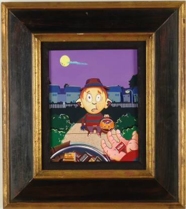Jacob  Lambert -  <strong>Freddy Krueger meets Freddy Krueger</strong> (<strong style = 'color:#635a27'></strong>)<bR /> Acrylic on Canvas Board