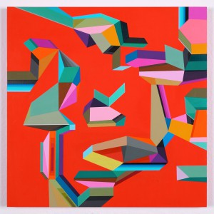 James  Marshall (Dalek) -  <strong>Untitled 3</strong> (2014<strong style = 'color:#635a27'></strong>)<bR /> acrylic on wood,   12 x 12 inches  (30.48 x 30.48 cm)