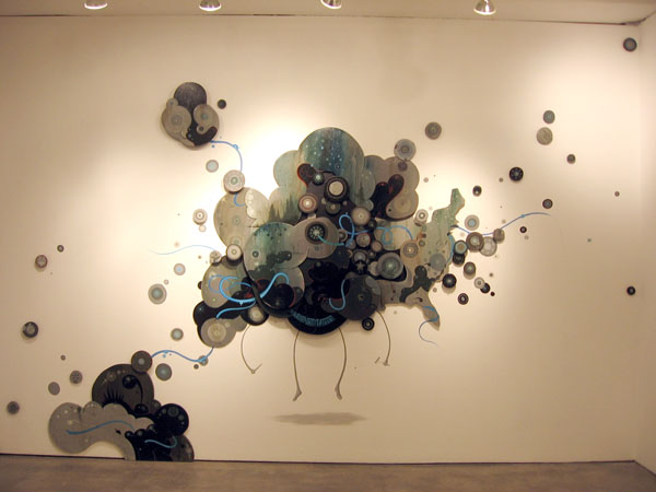Jeff  Soto -  <strong>Smile Now Cry Later</strong> (2007<strong style = 'color:#635a27'></strong>)<bR /> Mixed media installation,   Dimensions variable with custom installation by Jeff Soto