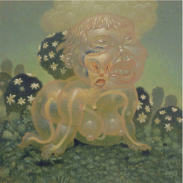 Dave  Cooper -  <strong>Jelly Casing</strong> (2005<strong style = 'color:#635a27'></strong>)<bR /> Oil on Canvas,   24 x 24 inches