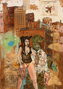 David  Choe -  <strong>Jesto's Girl</strong> (<strong style = 'color:#635a27'></strong>)<bR /> Mixed media on cardboard,   12 x 8 1/2 inches