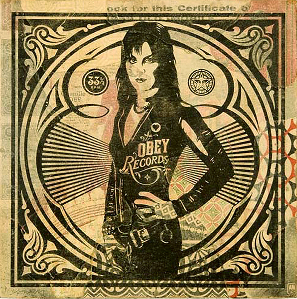 "Shepard  Fairey -  <strong>Joan Jett</strong> (2008<strong style = 'color:#635a27'></strong>)<bR /> <font size=""2"">Hand Painted Multiple</font>,   <font size=""2"">Silkscreen Collage on Album Cover</font>,   <font size=""2"">Edition 5/8</font>,   <font size=""2"">12 x 12 inches</font>"