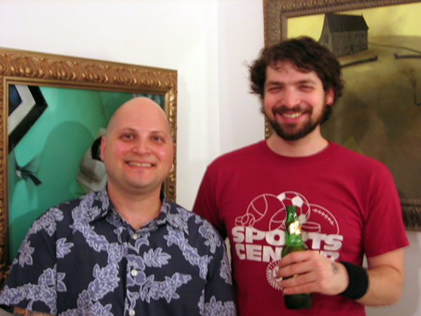Scope Fair -  <strong>Levine and Weiner</strong> (<strong style = 'color:#635a27'></strong>)<bR /> Jonathan LeVine and Jonathan Weiner in front of Weiner's paintings at Scope