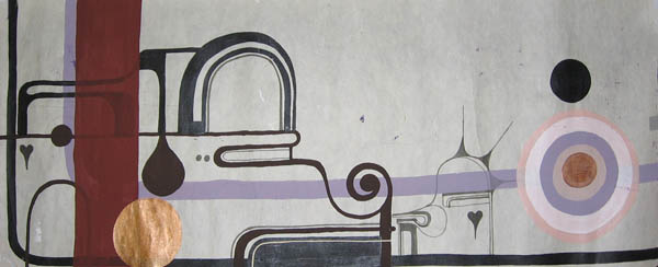 Kboco  &nbsp -  <strong>1</strong> (<strong style = 'color:#635a27'></strong>)<bR /> Mixed Media on Paper,   14 1/2 x 35 inches,   Unframed
