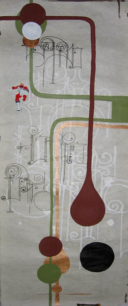 Kboco  &nbsp -  <strong>3</strong> (<strong style = 'color:#635a27'></strong>)<bR /> Mixed Media on Paper,   14 1/2 x 35 inches,   Unframed