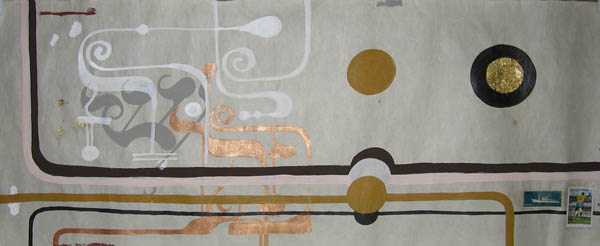 Kboco  &nbsp -  <strong>9</strong> (<strong style = 'color:#635a27'></strong>)<bR /> Mixed Media on Paper,   14 1/2 x 35 inches,   Unframed