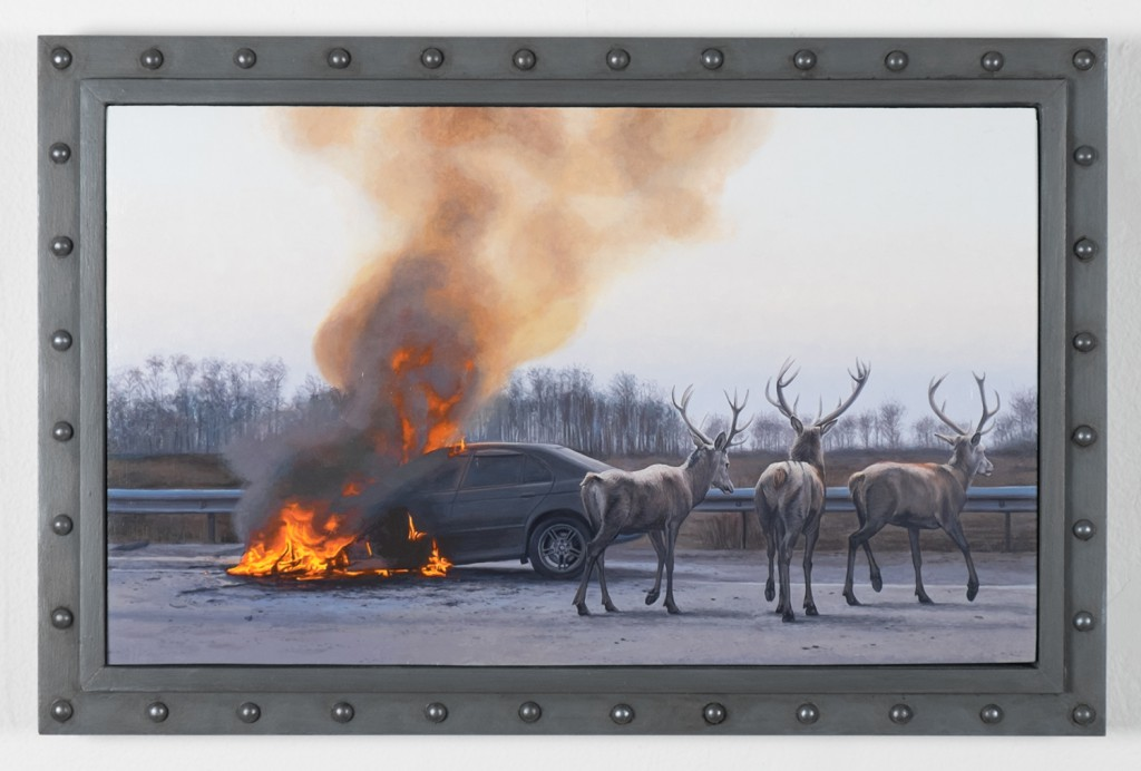 Josh  Keyes -  <strong>The Road I</strong> (2014<strong style = 'color:#635a27'></strong>)<bR /> acrylic on birch panel,   12 x 20 inches  (30.48 x 50.8 cm)  15 x 23 inches, framed