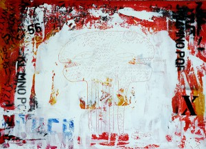 Fefê   -  <strong>Monster with Letters</strong> (<strong style = 'color:#635a27'></strong>)<bR /> Mixed Media on Canvas,   25 3/4 x 19 3/4 inches